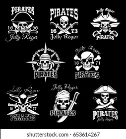 Pirate skull with crossbone and Jolly Roger symbol set. Piracy flag of pirate ship with human skull in pirate captain hat, bandana and earring isolated sign, decorated with sword, compass wind rose
