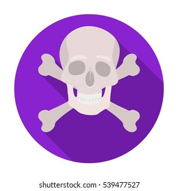 Pirate skull and crossbones icon in flat style isolated on white background. Pirates symbol stock vector illustration.