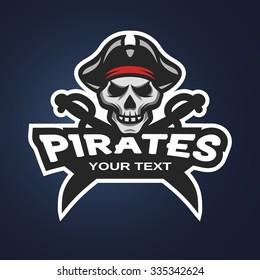 Pirate Skull and crossed sabers badge, logo, emblem on a dark background.