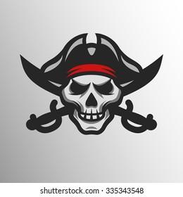 Pirate Skull and crossed sabers badge, logo.