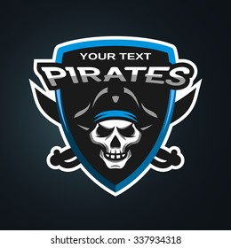 Pirate Skull and crossed sabers badge, logo, emblem on a dark background.