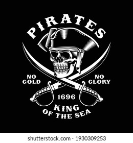 Pirate Skull With Crossed Swords Vector Illustration