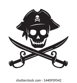 Pirate skull emblem illustration with crossed sabers.