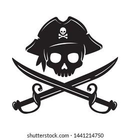 Pirate skull emblem illustration with crossed sabers.