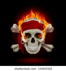 Pirate Skull in Flames. Illustration on black