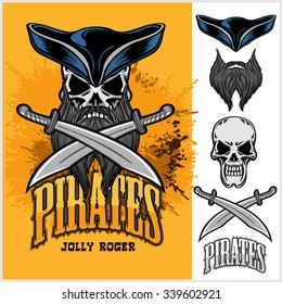 Pirate Skull in hat with Cross Swords on light background.