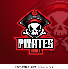 Pirate skull mascot esport logo design