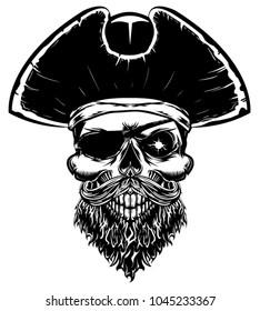 pirate skull monochrome vector illustration with capitan hat, eye patch, beard. Capitan black beard.