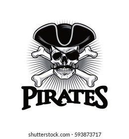 Pirate Skull With Mustache Cross Bones Hat And Eyepatch Logo Design Vector Illustration
