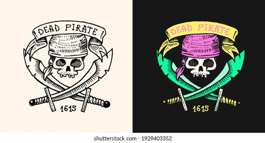 Pirate skull on the background of daggers or swords logo. Jolly roger or Corsair. Marine and nautical or sea, ocean emblem for sticker or t-shirt. Engraved hand drawn, old label or badge.