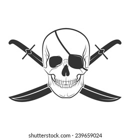 pirate skull on isolated white background, excellent vector illustration