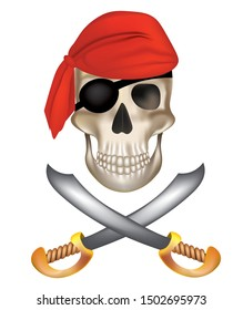 Pirate skull with sabers. vector