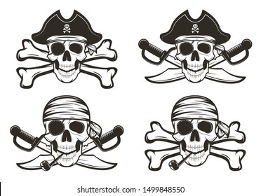 Pirate skull set, vector hand drawn illustration isolated on white background. Human skull with crossed swords and bones, wearing pirate captain hat, bandana, eyepatch. Vintage tattoo t-shirt graphics