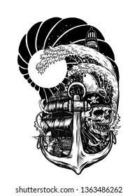 Pirate skull with ship vector tattoo by hand drawing.Beautiful ship on wave background.Black and white graphics design art highly detailed in line art style.