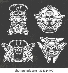 Pirate skull stickers on a black background. Shabby texture grouped separately and is easily removed.