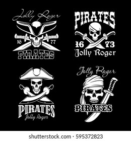 Pirate skull symbol set. Skull of pirate captain and sailor, wearing hat, bandana and eyepatch with crossed sword and knife. Jolly Roger sign for emblem or tattoo design