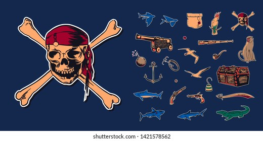 Pirate skull wearing bandana with crossbones and hand drawn sketch set illustration of buccaneer accessories. Vector filibuster drawing stickers isolated on navy background.