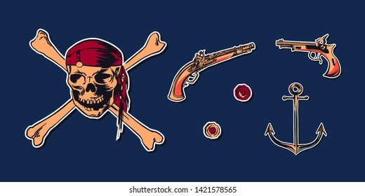 Pirate skull wearing bandana with crossbones and hand drawn sketch set illustration of buccaneer gun pistol and anchor. Vector filibuster drawing stickers isolated on navy background.