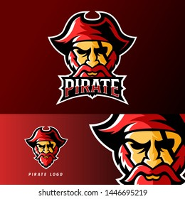 pirate sport or esport gaming mascot logo template, for your team, business, and personal branding