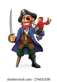 Pirate was standing holding a drawn sword with a parrot perched on hand