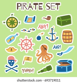 Pirate stickers set. Isolated vector collection in limited color scheme.