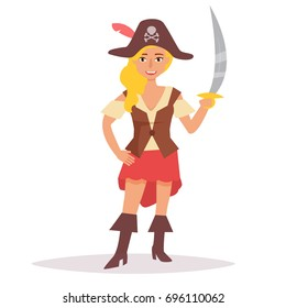 Pirate with sword. Vector. Cartoon. Isolated art on white background. Flat.