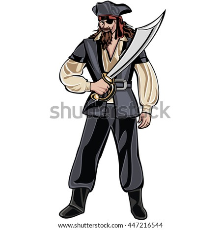 Pirate With Sword Vector Illustration Character