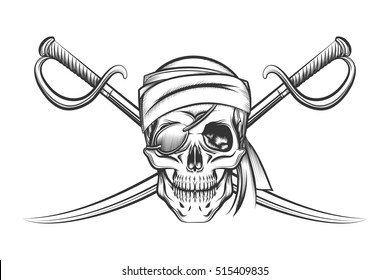 Pirate Symbol Of A Skull In The Captains Hat And Two Crossed Swords Vector Illustration