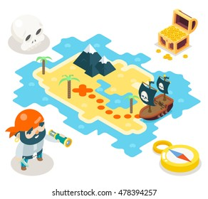 Pirate Treasure and Adventure Game RPG Map Icon Isometric Symbol isolated Flat Design Vector Illustration