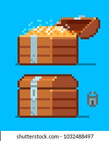 Pirate Treasure Chest icon. Pixel art