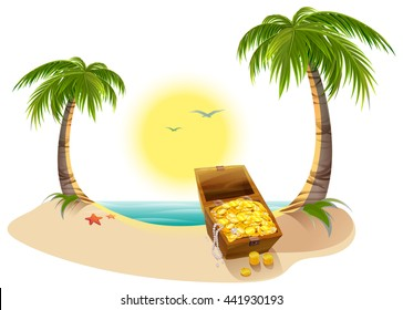Pirate Treasure Chest on tropical island. Vector cartoon illustration