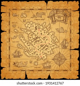 Pirate treasure island ancient map. Route dotted line among mountains, mark for chest with treasures and sailing in ocean caravels, sea monsters on piece of parchment paper with torn sides vector