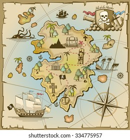 Pirate treasure island vector map. Sea ship, adventure ocean, skull and paper, navigation art and cannon illustration