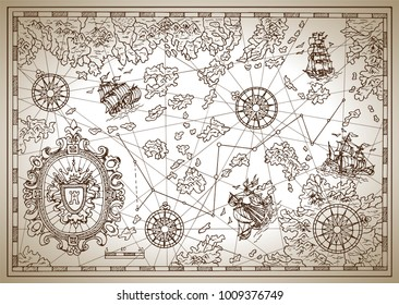 Pirate treasure map with compass, sailing vessels, treasure islands and decorative elements. Pirate adventures, treasure hunt and old transportation concept. Hand drawn vector illustration, vintage ba