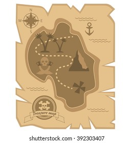 Pirate Treasure Map in flat style