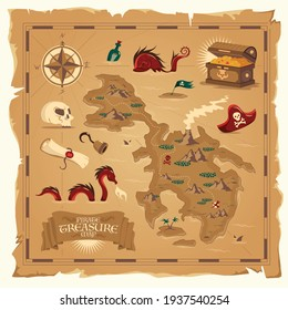Pirate treasure map on old parchment with skull hand hook wooden chest floating bottle cartoon elements vector illustration
