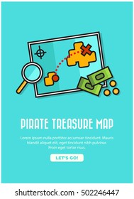 Pirate Treasure Map With Text Box and 'Find It' Button (Treasure Map Hunt With Magnifying Glass and Money Line Icon Quote Poster Design)