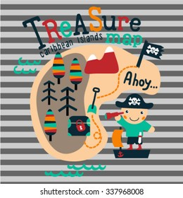 Pirate with a treasure map themed graphic for children. Vector illustration. Design elements for children room. T-Shirt graphic.