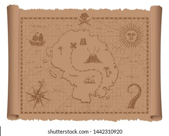 Pirate treasure map vector illustration (grunge damaged texture)