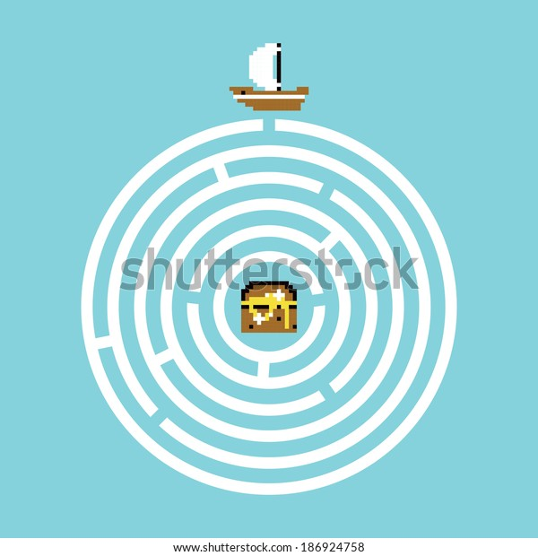 Pirate treasure maze vector illustration
