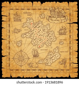Pirate treasure scroll map with vector sketches of sea, filibuster islands and ships, marine travel and adventure design. Nautical compass roses, sail boats, anchors and pirate chest with red path
