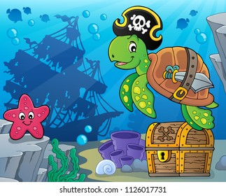 Pirate turtle theme image 5 - eps10 vector illustration.