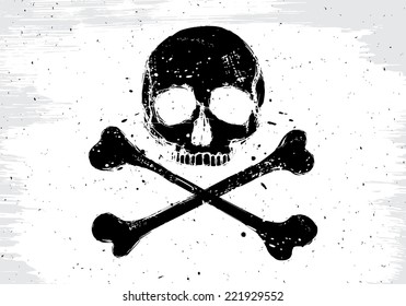 Pirate vector white flag with black human skull and crossbones, illustration in grunge design  style
