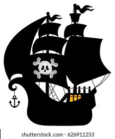 Pirate vessel silhouette theme 1 - eps10 vector illustration.