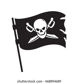 Pirate waving flag with image of human skull and crossed sabers isolated on white background. Filibuster symbol. Art vector illustration.