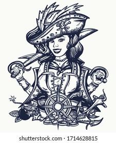 Pirate woman. Crime sailor girl portrait, pin up style. Old school tattoo art. Sea wolf, female. Sabres, guns, gold coins, compass. Marine adventure t-shirt design. Cartoon character