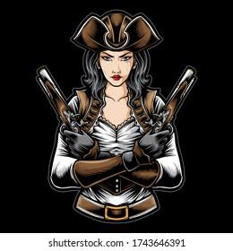 pirate women holding gun vector