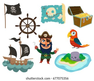 Pirate's adventure set on white background.