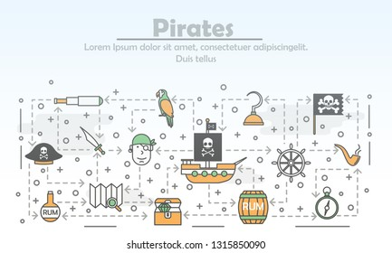 Pirates advertising vector poster banner template. Pirate hat ship, treasure chest, flag, rum barrel, spyglass, skull and bones, map, compass etc. Thin line art flat icons for web, printed materials.
