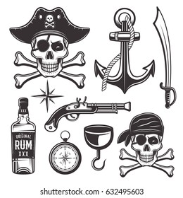 Pirates attributes set of vector objects and graphic elements in monochrome style for your custom emblem, label, logo design isolated on white background